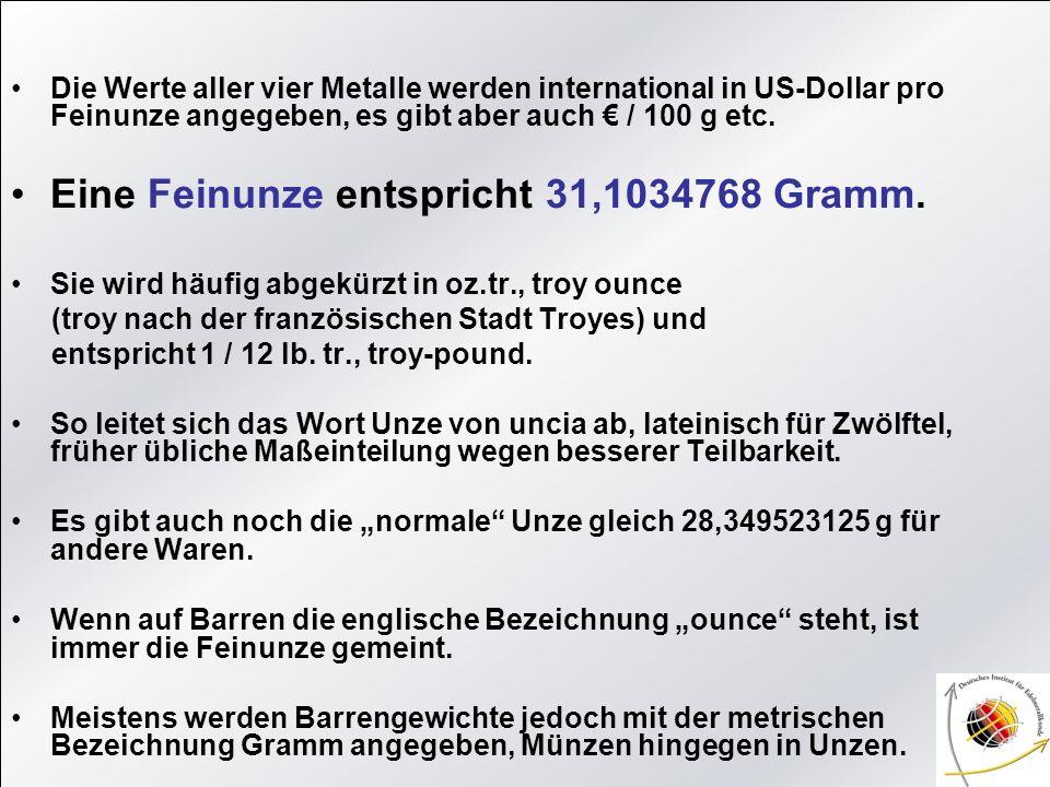 Eine Feinunze entspricht 31,1034768 Gramm.