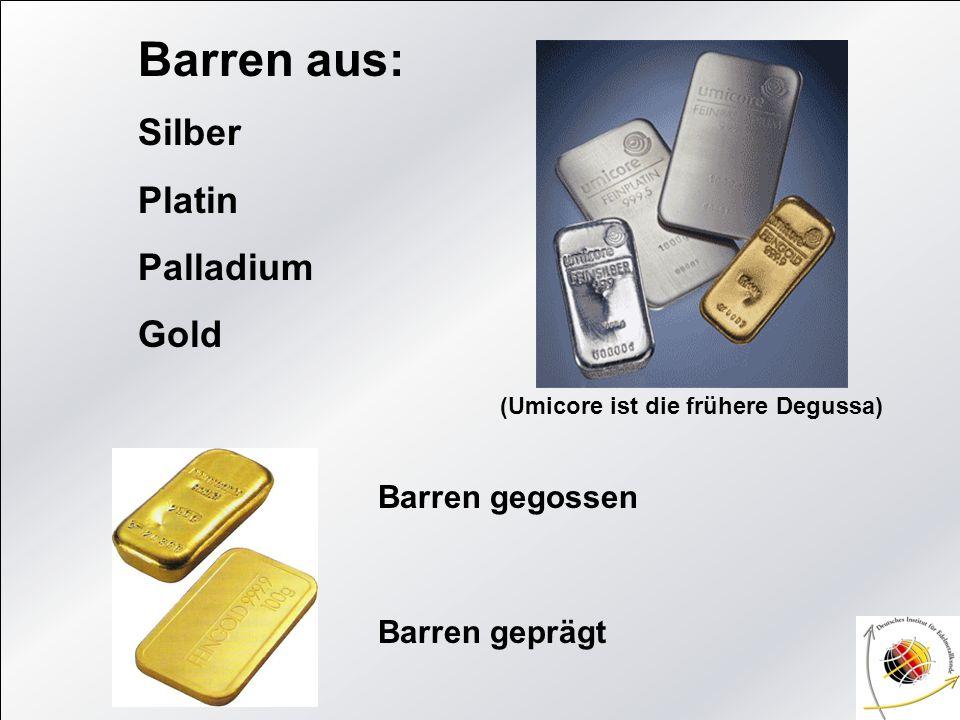 Barren aus: Silber Platin Palladium Gold