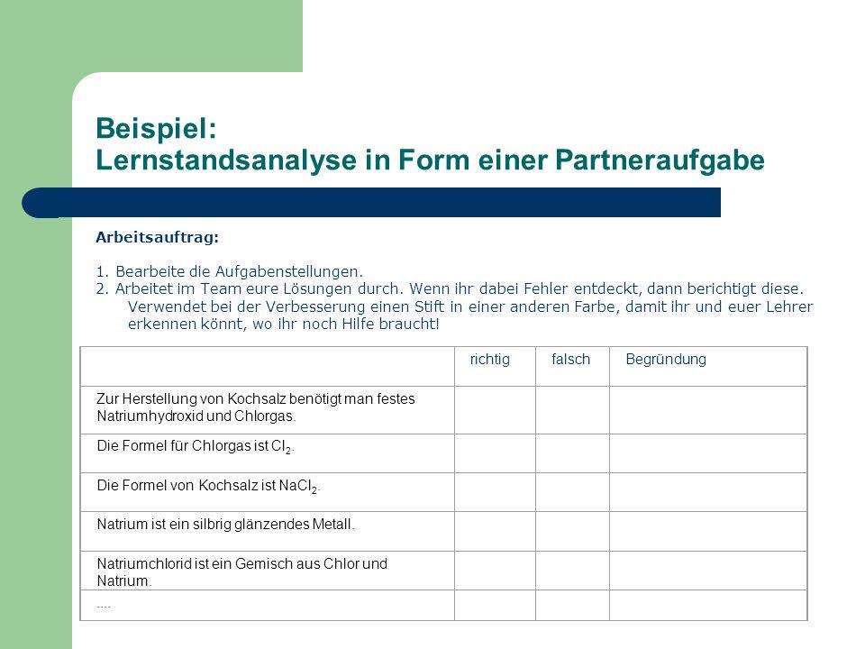 Beispiel: Lernstandsanalyse in Form einer Partneraufgabe