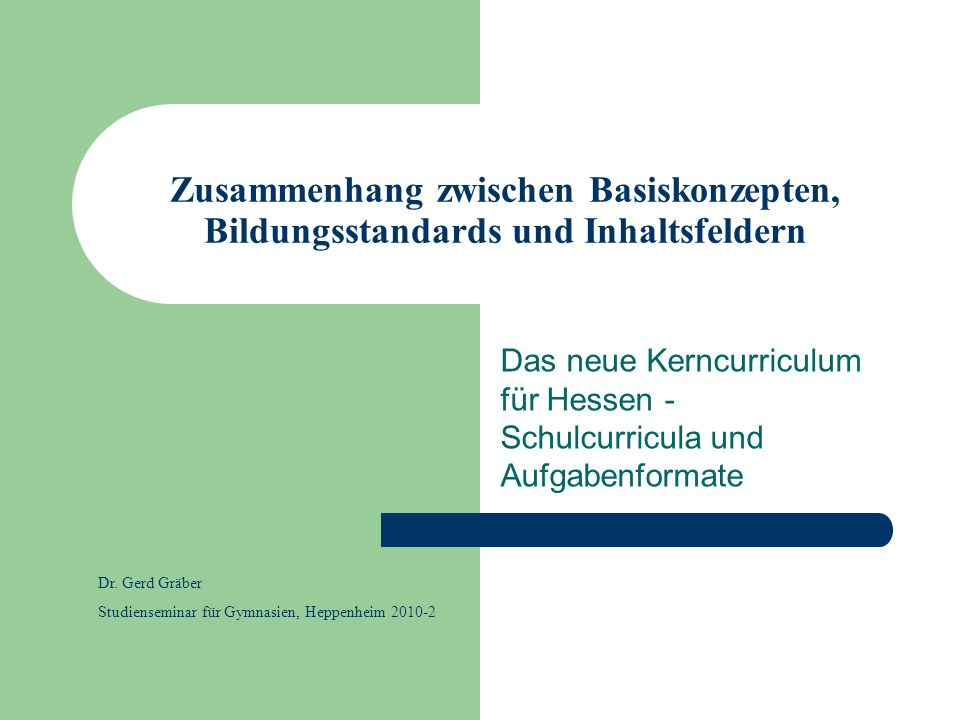 Zusammenhang zwischen Basiskonzepten, Bildungsstandards und Inhaltsfeldern