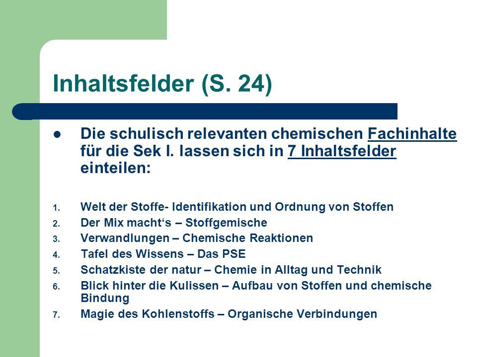 Inhaltsfelder (S. 24)Die schulisch relevanten chemischen Fachinhalte für die Sek I. lassen sich in 7 Inhaltsfelder einteilen: