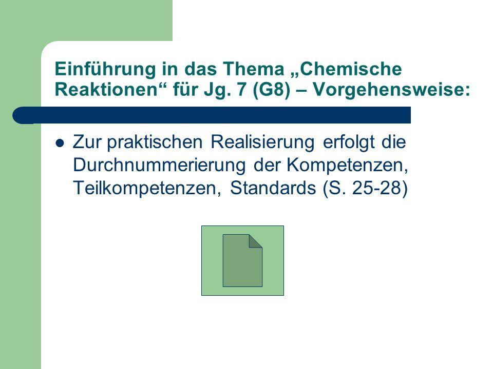 """Einführung in das Thema """"Chemische Reaktionen für Jg"""