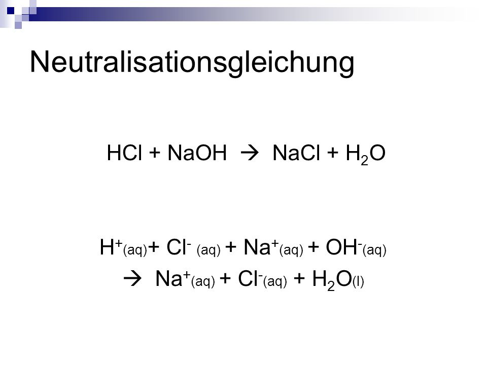 Neutralisationsgleichung