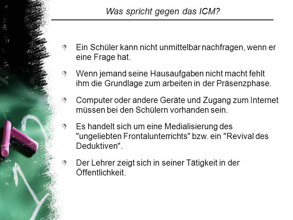 Was spricht gegen das ICM