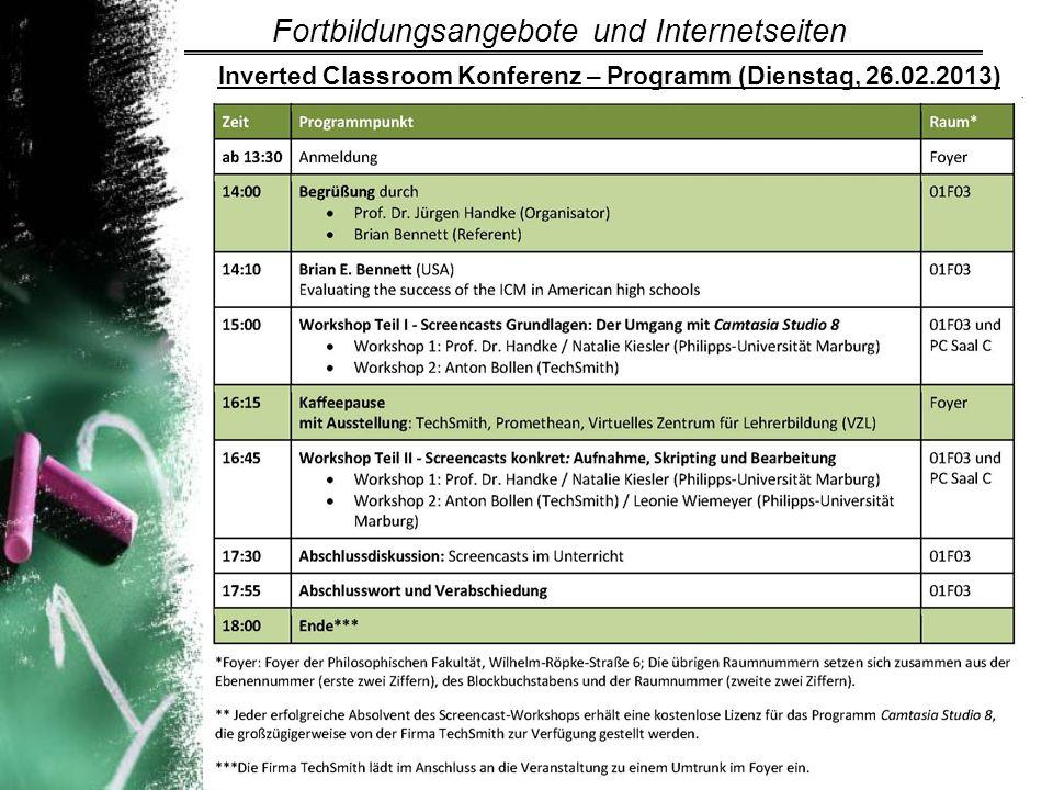 Inverted Classroom Konferenz – Programm (Dienstag, 26.02.2013)