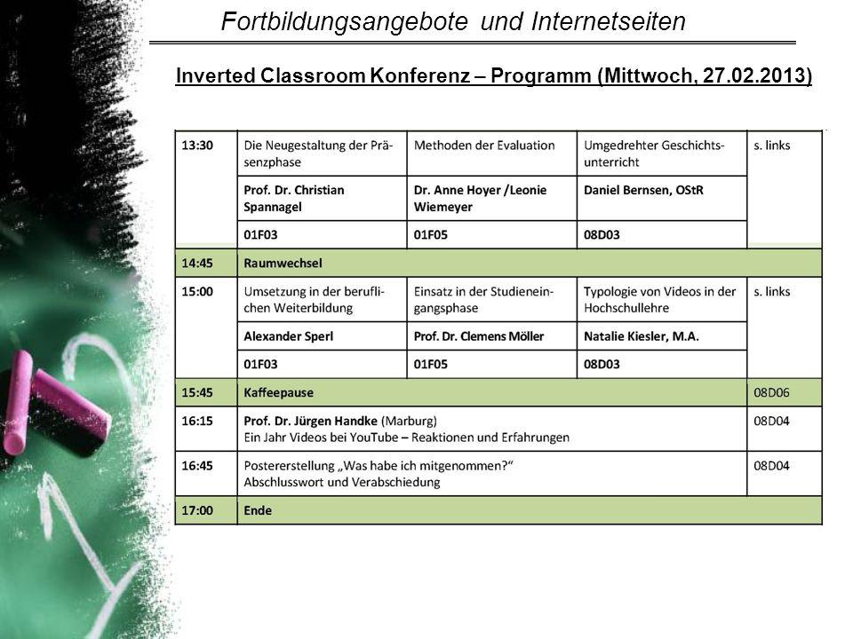 Inverted Classroom Konferenz – Programm (Mittwoch, 27.02.2013)