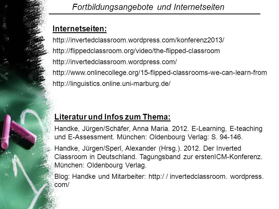 Fortbildungsangebote und Internetseiten
