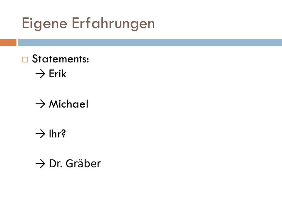 Eigene Erfahrungen Statements: → Erik → Michael → Ihr → Dr. Gräber