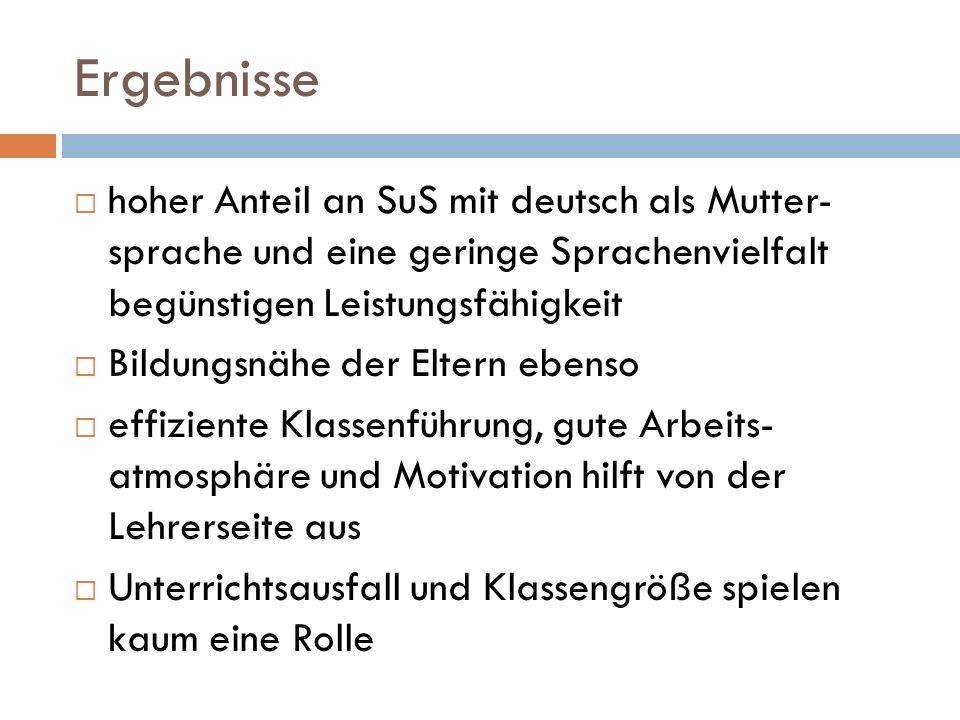 Ergebnisse hoher Anteil an SuS mit deutsch als Mutter- sprache und eine geringe Sprachenvielfalt begünstigen Leistungsfähigkeit.