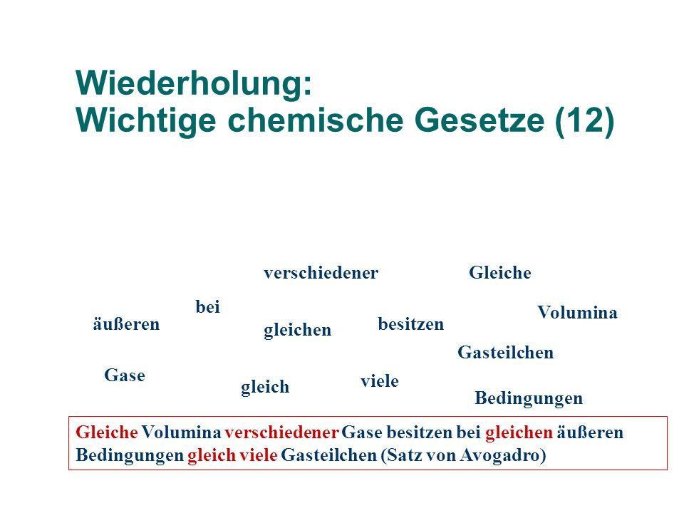 Wiederholung: Wichtige chemische Gesetze (12)