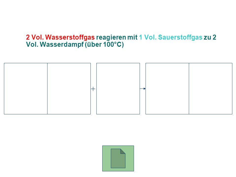 2 Vol. Wasserstoffgas reagieren mit 1 Vol. Sauerstoffgas zu 2 Vol