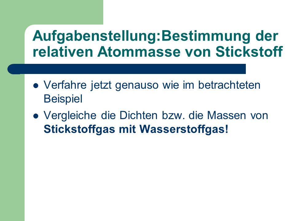Aufgabenstellung:Bestimmung der relativen Atommasse von Stickstoff