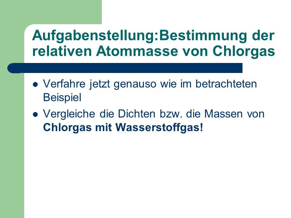 Aufgabenstellung:Bestimmung der relativen Atommasse von Chlorgas