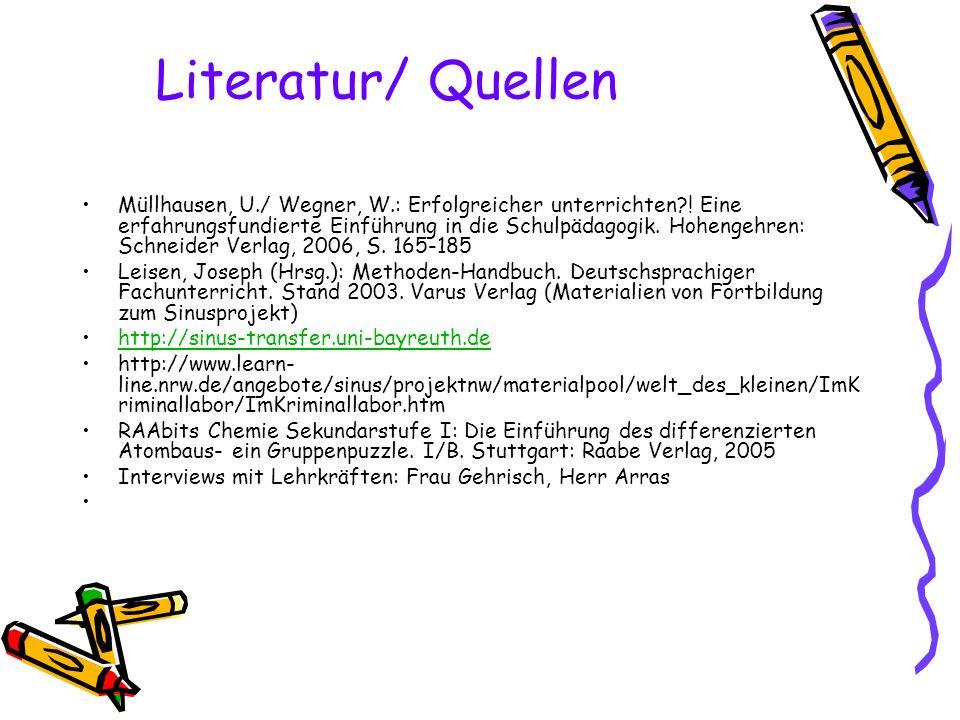 Literatur/ Quellen