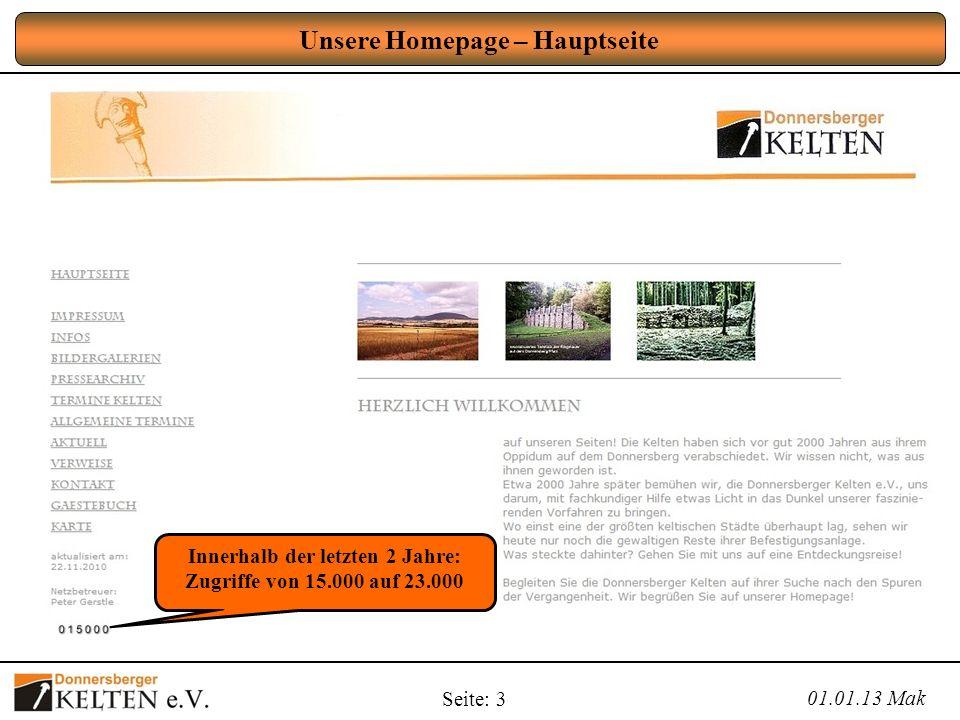 Unsere Homepage – Hauptseite