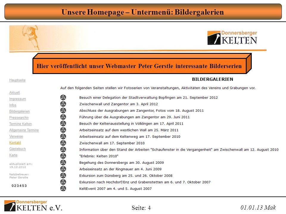 Unsere Homepage – Untermenü: Bildergalerien