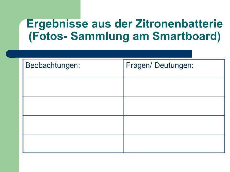 Ergebnisse aus der Zitronenbatterie (Fotos- Sammlung am Smartboard)
