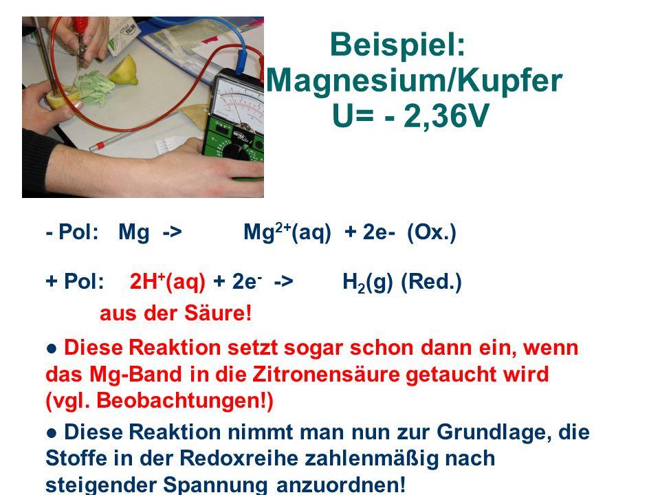 Beispiel: Magnesium/Kupfer U= - 2,36V