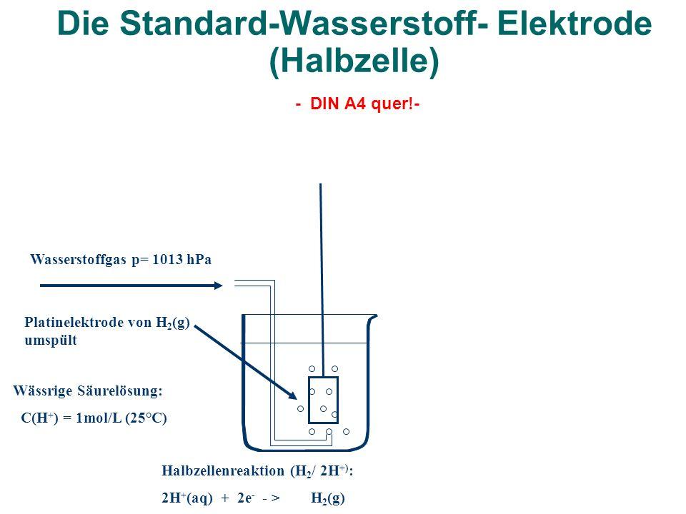 Die Standard-Wasserstoff- Elektrode (Halbzelle) - DIN A4 quer!-