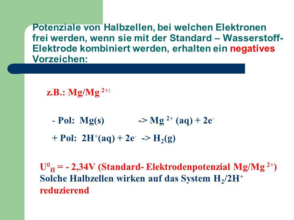 Potenziale von Halbzellen, bei welchen Elektronen frei werden, wenn sie mit der Standard – Wasserstoff-Elektrode kombiniert werden, erhalten ein negatives Vorzeichen: