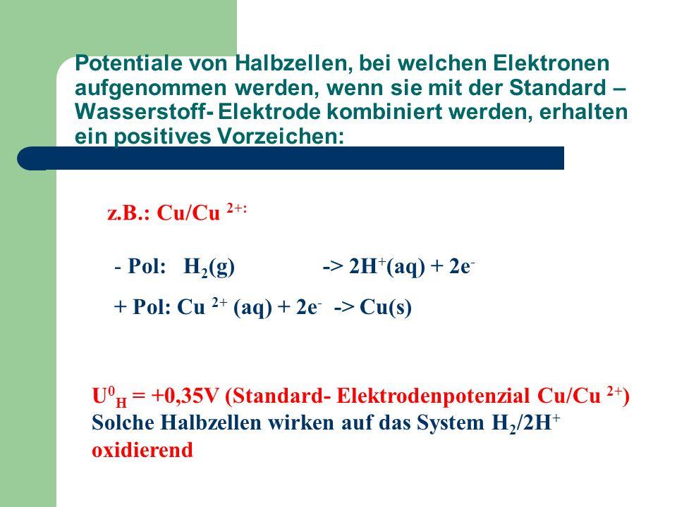 Potentiale von Halbzellen, bei welchen Elektronen aufgenommen werden, wenn sie mit der Standard – Wasserstoff- Elektrode kombiniert werden, erhalten ein positives Vorzeichen: