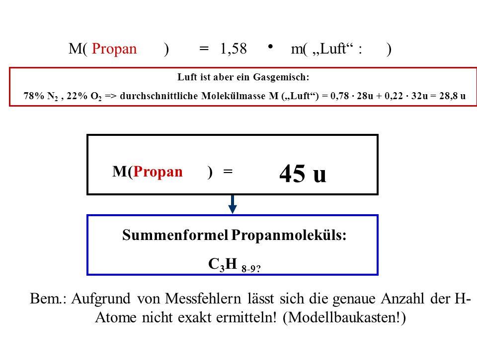 Luft ist aber ein Gasgemisch: Summenformel Propanmoleküls: