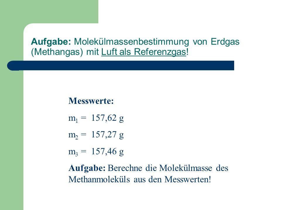 Aufgabe: Molekülmassenbestimmung von Erdgas (Methangas) mit Luft als Referenzgas!