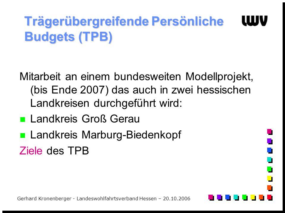 Trägerübergreifende Persönliche Budgets (TPB)