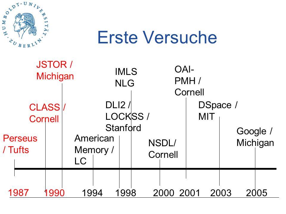 Erste Versuche JSTOR / Michigan OAI-PMH / Cornell IMLS NLG
