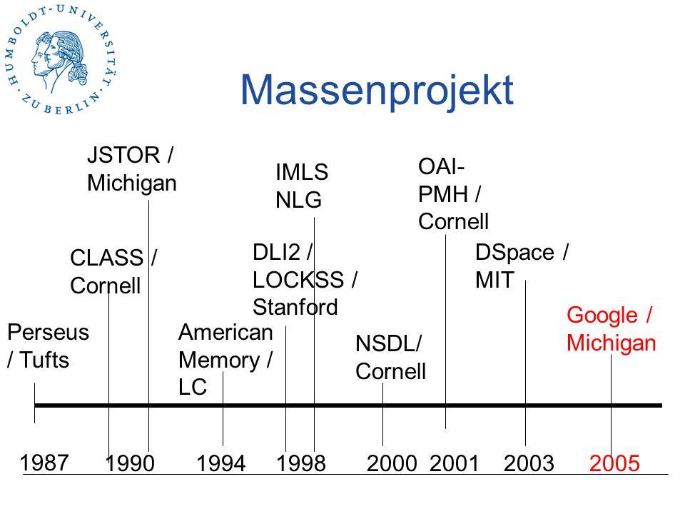 Massenprojekt JSTOR / Michigan OAI-PMH / Cornell IMLS NLG