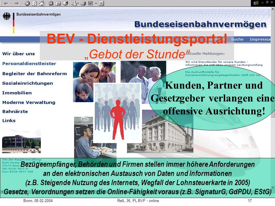 """BEV - Dienstleistungsportal """"Gebot der Stunde"""