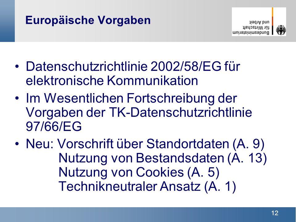Datenschutzrichtlinie 2002/58/EG für elektronische Kommunikation