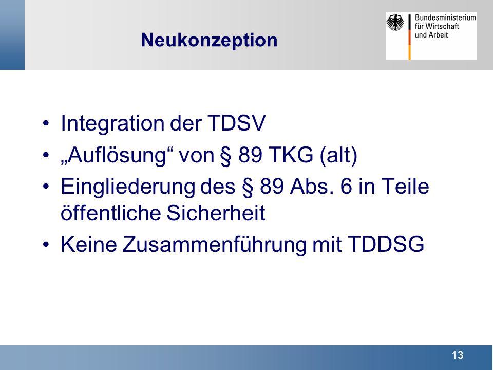 """""""Auflösung von § 89 TKG (alt)"""