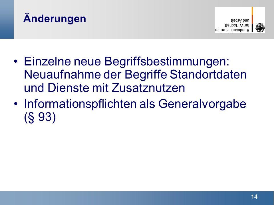 Informationspflichten als Generalvorgabe (§ 93)