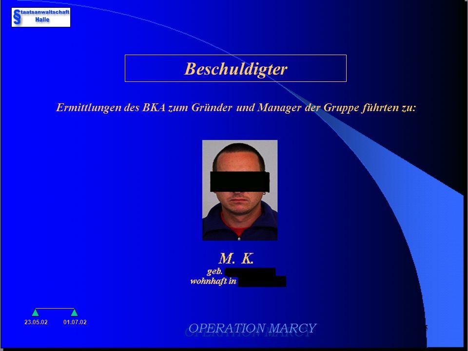 Ermittlungen des BKA zum Gründer und Manager der Gruppe führten zu: