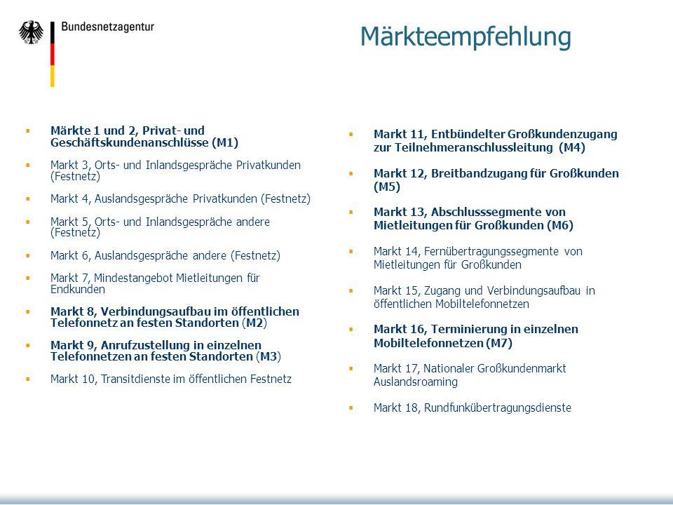 Märkteempfehlung Märkte 1 und 2, Privat- und Geschäftskundenanschlüsse (M1) Markt 3, Orts- und Inlandsgespräche Privatkunden (Festnetz)
