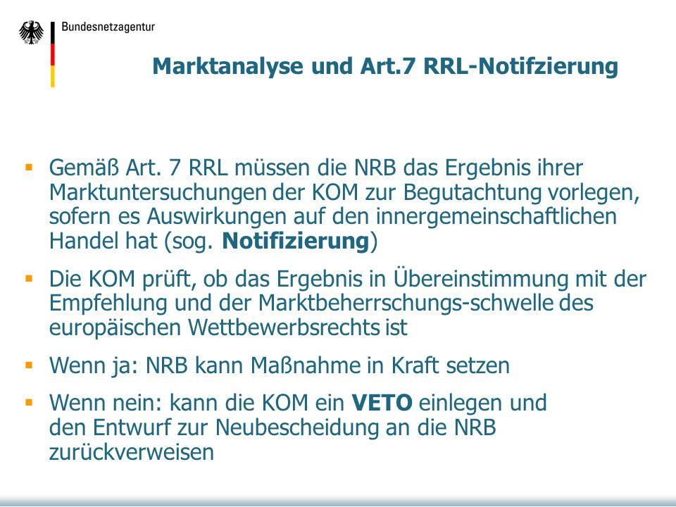 Marktanalyse und Art.7 RRL-Notifzierung