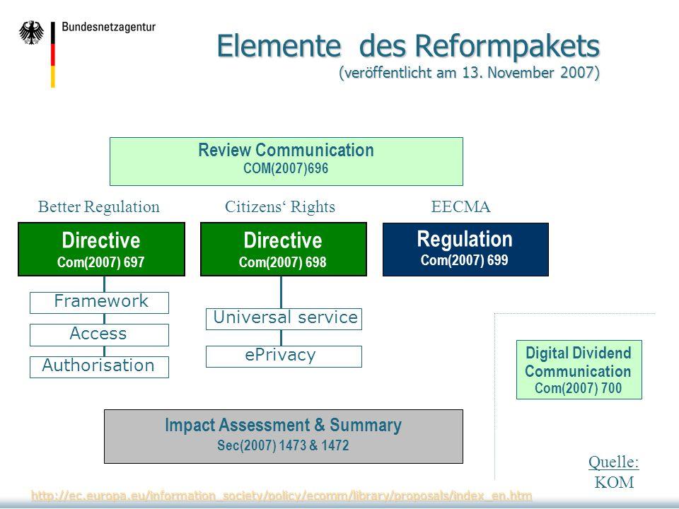 Elemente des Reformpakets (veröffentlicht am 13. November 2007)