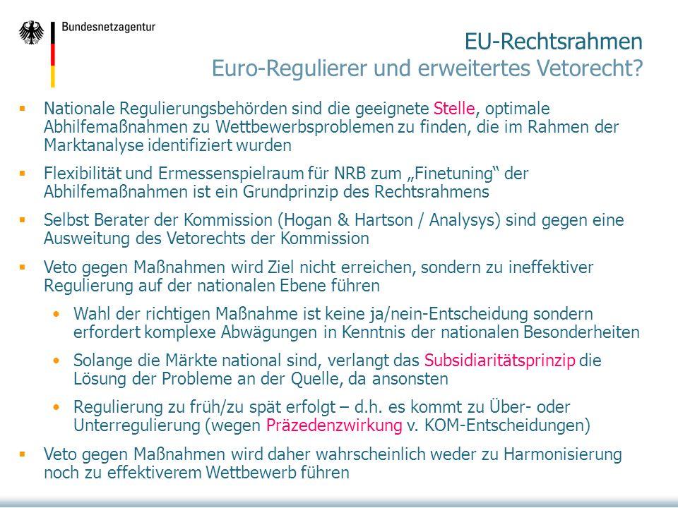 EU-Rechtsrahmen Euro-Regulierer und erweitertes Vetorecht