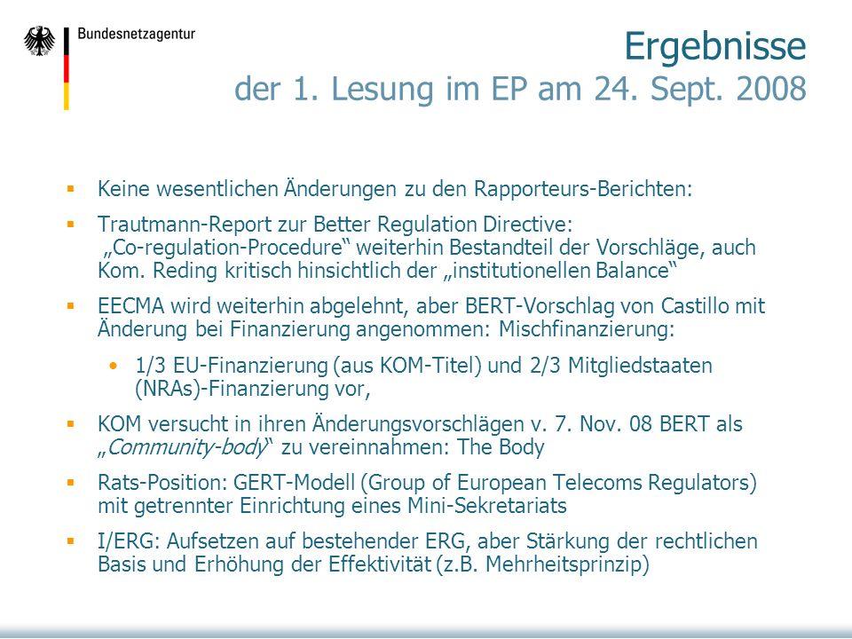 Ergebnisse der 1. Lesung im EP am 24. Sept. 2008