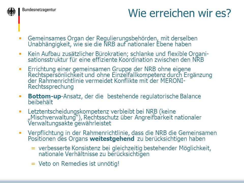 Wie erreichen wir es Gemeinsames Organ der Regulierungsbehörden, mit derselben Unabhängigkeit, wie sie die NRB auf nationaler Ebene haben.