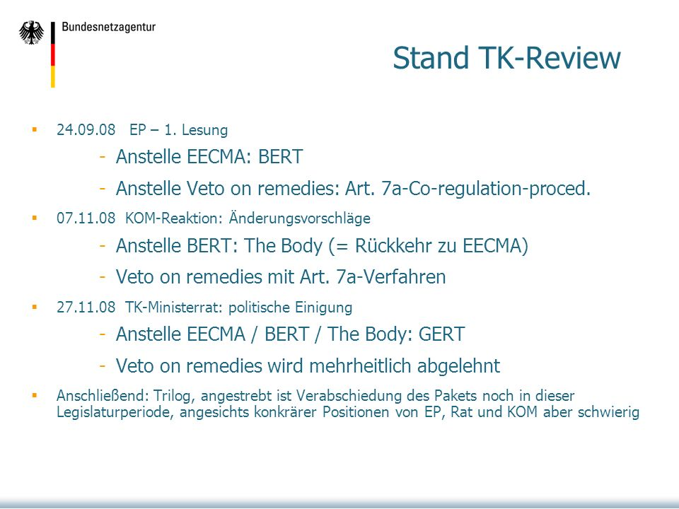 Stand TK-Review Anstelle EECMA: BERT
