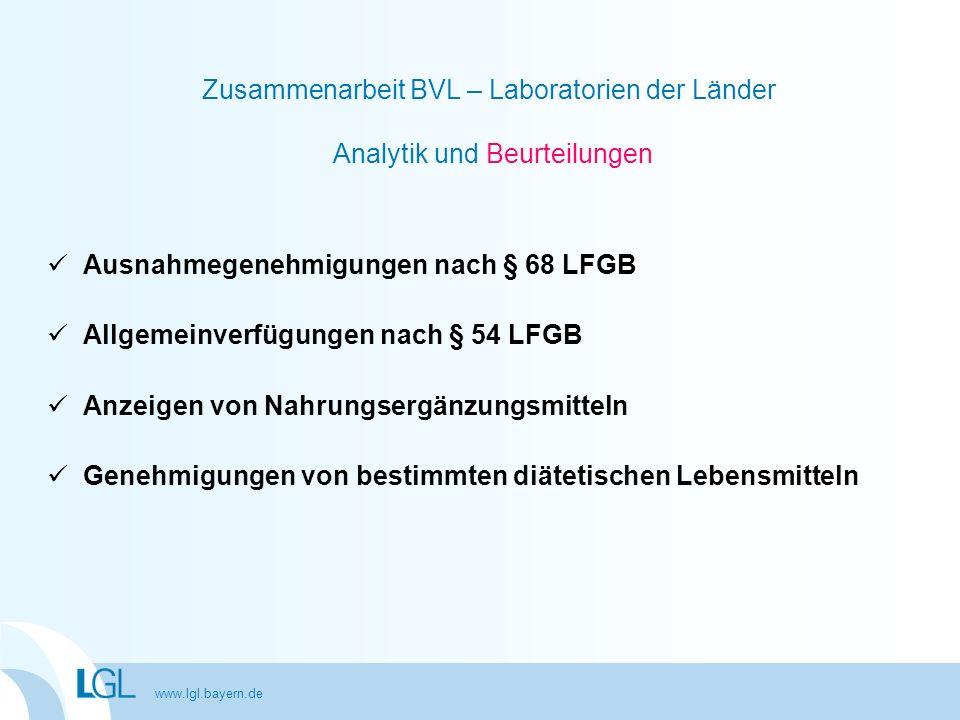 Ausnahmegenehmigungen nach § 68 LFGB