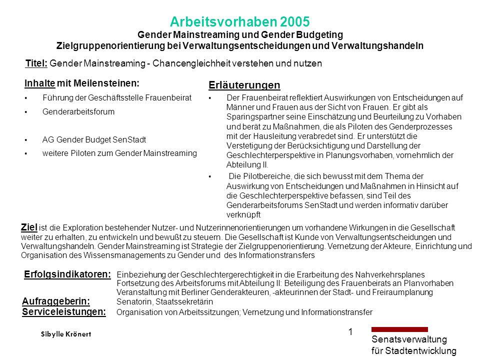 Arbeitsvorhaben 2005 Gender Mainstreaming und Gender Budgeting Zielgruppenorientierung bei Verwaltungsentscheidungen und Verwaltungshandeln