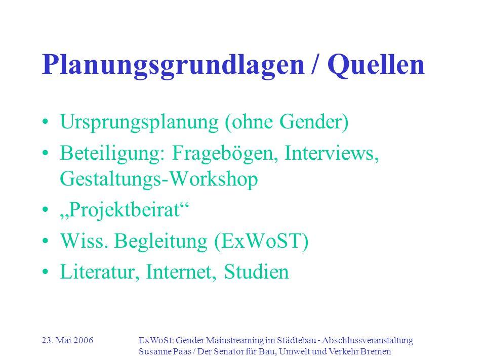 Planungsgrundlagen / Quellen