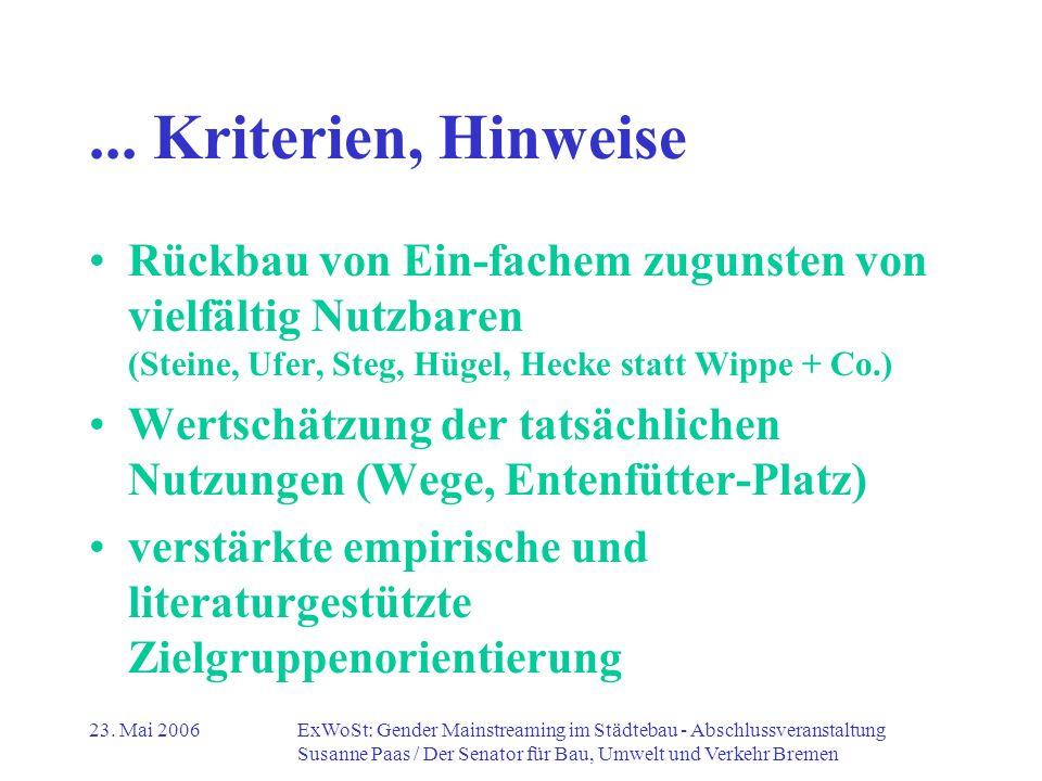 ... Kriterien, Hinweise Rückbau von Ein-fachem zugunsten von vielfältig Nutzbaren (Steine, Ufer, Steg, Hügel, Hecke statt Wippe + Co.)