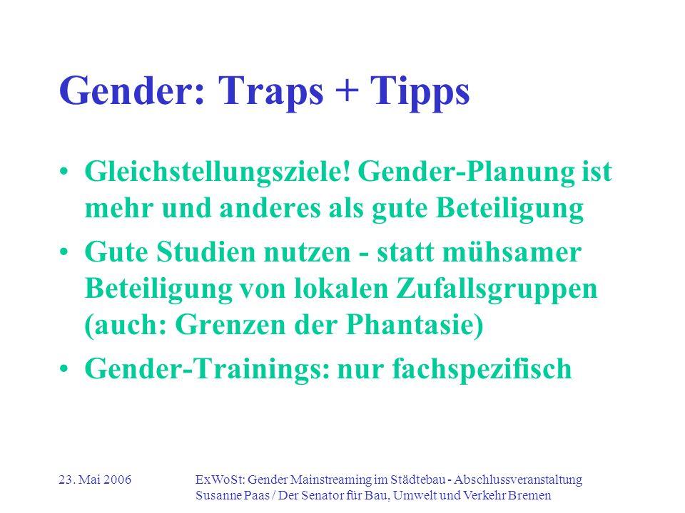 Gender: Traps + Tipps Gleichstellungsziele! Gender-Planung ist mehr und anderes als gute Beteiligung.