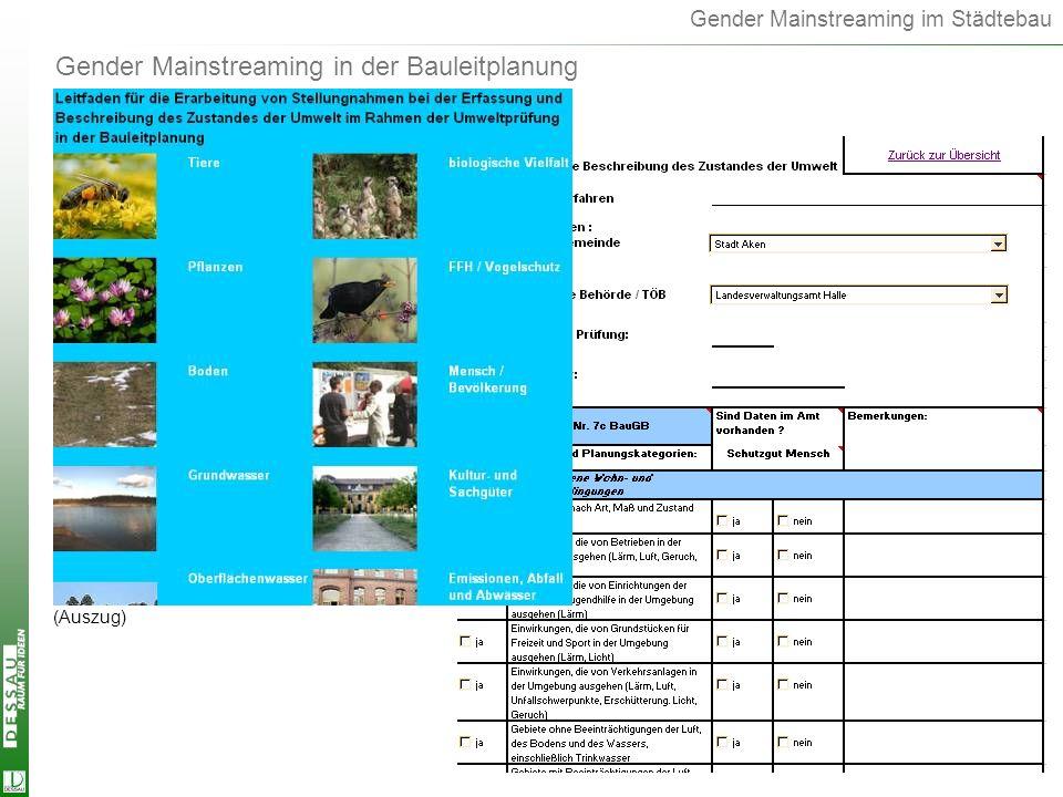 Gender Mainstreaming in der Bauleitplanung
