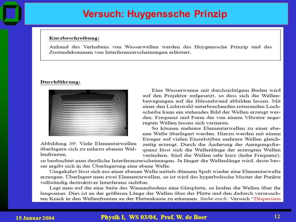 Versuch: Huygenssche Prinzip