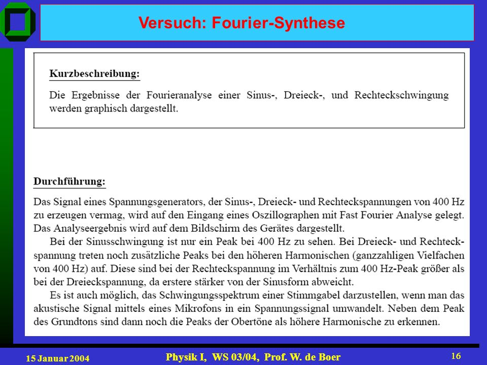 Versuch: Fourier-Synthese